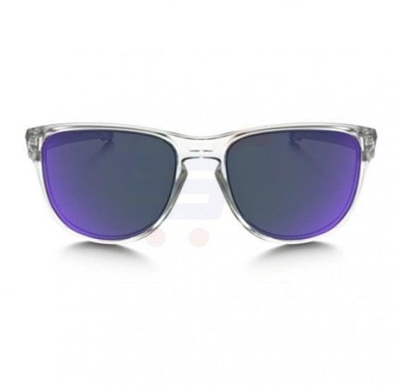 Oakley Rectangular Matte Clear Frame & Violet Iridium Mirrored Sunglasses For Unisex - 0OO9342-934202