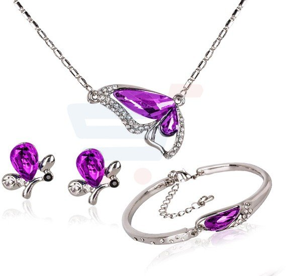 18K White Gold Plated Butterfly Pendant Set - MM567
