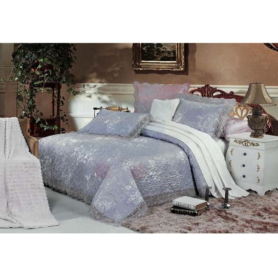 Senoures Blue Marine Jacquard Bed Spread 3Pcs Set Double - SBJ-022