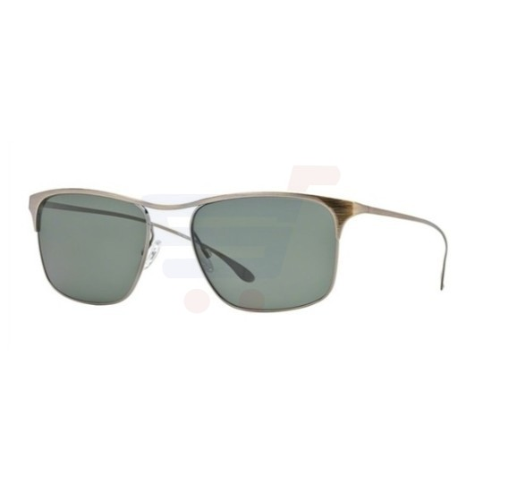 Paul Smith Rectangular Antique Gold Peoples Frame & Green G15 PolarMirrored Sunglasses For Unisex - 0PM4068S-50399A