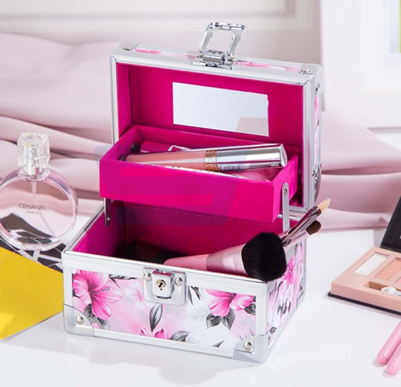 J.Rosee Portable Ladies Aluminum Makeup Storage Case With Mirror JR 8216