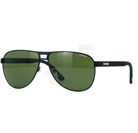 Chopard Aviator Semi Matte Black Frame & Green With Black Mirror Polarised Mirrored Sunglass For Unisex  - SCHB80-531P