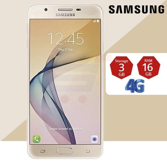 Samsung J7 Prime (G610F) Smartphone, Android OS, 5.5 Inch FHD Display, 3GB RAM, 16GB Storage, Dual Camera, Dual Sim, Gold