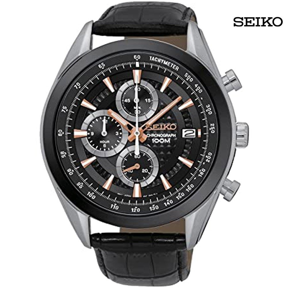 Seiko Men Analog Black Dial Leather Watch, SSB183P1