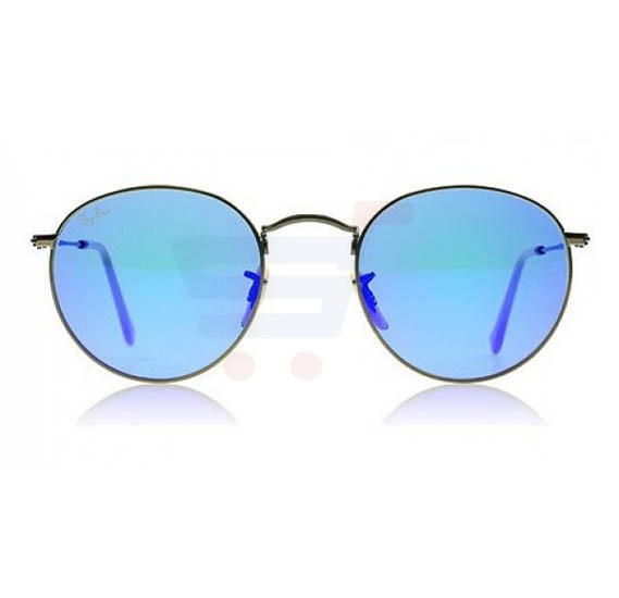 Buy Ray-Ban Round Brushed Bronze Frame & Grey Blue Mirrored ...