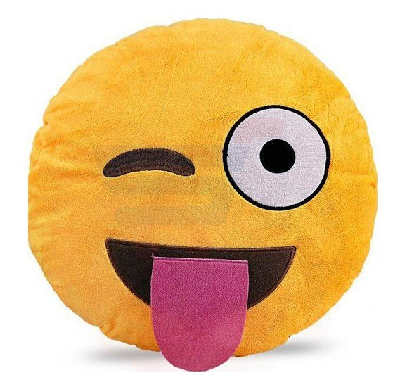 Kidcia Emoji Smiley Emoticon Yellow Round Cushion Pillow, Size 35 x 35 CM