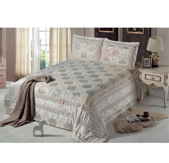 Senoures Lace Velvet Bed Spread 3Pcs Set Double - SBB-Coffee