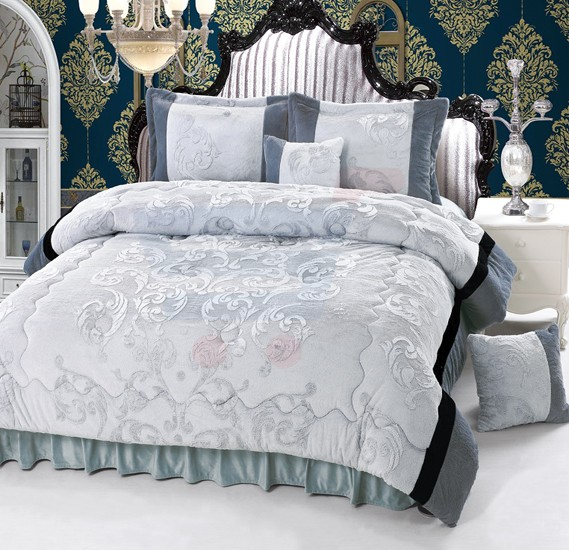 Senoures Velour Comforter 6Pcs Set King - SPV-008 Grey