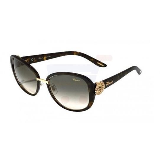 Chopard Oval Shiny Dark Havana Frame &  Brown Gradient Mirrored Sunglasses For Women - SCH186S-0722
