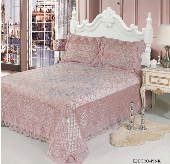 Senoures Velvet Bed Spread 3Pcs Set Double - Etro-Pink