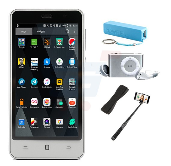 Bundle Offer K-zone A6 3G Smartphone, 4.5 Inch Display, Android OS, 1GB RAM, 4GB Storage, Dual SIM, Dual Camera - Grey And Get Free Power Bank + MP3 Player + Selfie Stick + Sling Grip