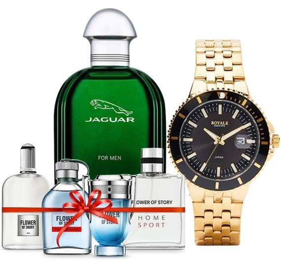 Mens Special Combo of Jaguar Green Perfume, Royale Executive Watch and 4 Piece Perfume Gift Set