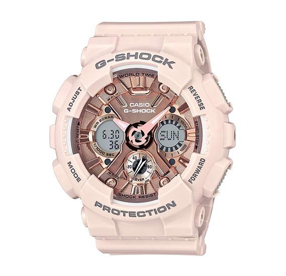 Casio G-Shock Analog-Digital Rose Gold Dial Womens Watch-GMA-S120MF-4ADR