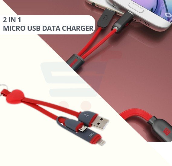 Multi-Color 2 in 1 Micro USB Data Charger Keychain Cable For Android and ios
