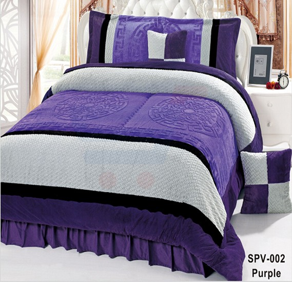 Senoures Velour Comforter 6Pcs Set King - SPV-002 Purple