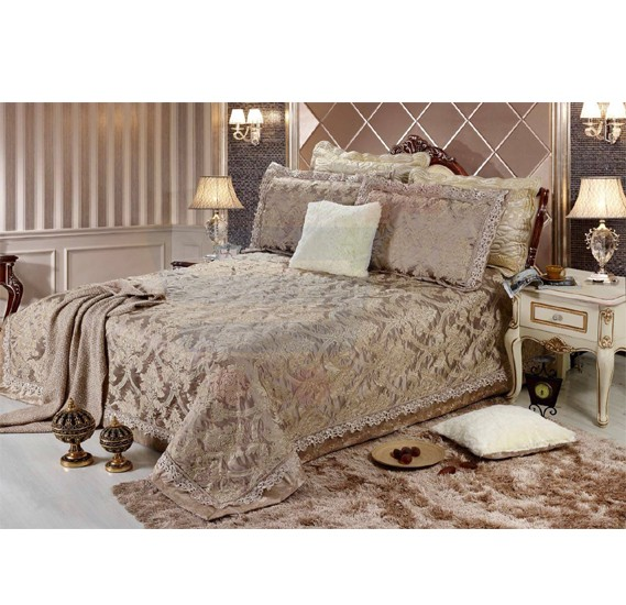 Senoures Lace Jacquard Bed Spread 3Pcs Set Double - SEB-001