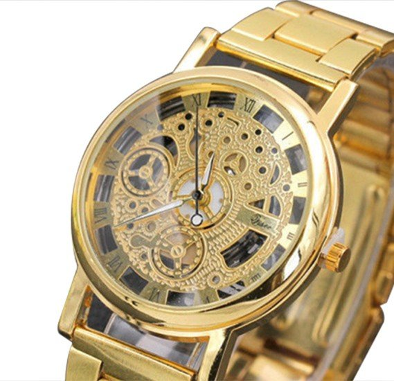 McyKcy Mens Imitation Machinery Casual Watch - Gold
