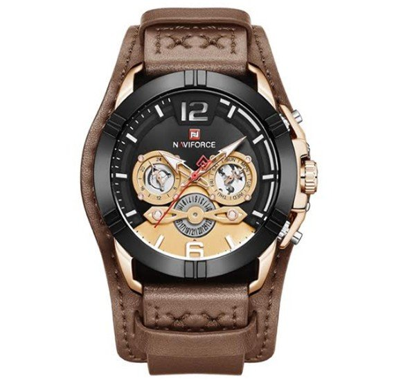 Naviforce Genuine Leather Multi-Function Quartz Movement Watch For Men, NF 9162 Brown Yellow