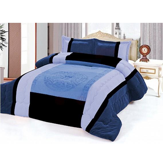 Senoures Velour Comforter 6Pcs Set King - SPV-007 Blue