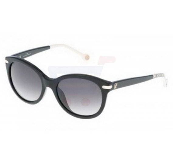 Carolina Herrera Oval Black Frame & Black Mirrored Sunglasses For Women - SHE602-0700