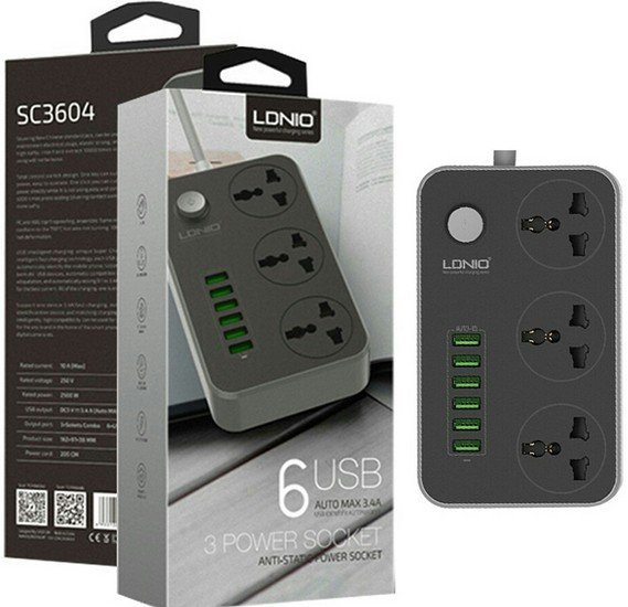 LDNIO SC3604 3.4A Power Socket3 AC + 6 USB Charger Adapter 2500W 10A