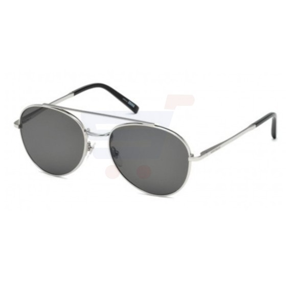Mont Blanc Aviator Silver & Black Frame & Smokey Black Mirrored Sunglasses For Men - MB605S-16D