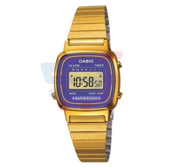 Casio LA-670WGA-6D Gold Stainless Steel Digital Watch For Women