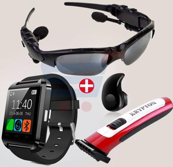 4 in 1 Combo! OEM Bluetooth Smart Watch + Bluetooth Earpies + Bluetooth Sunglass Headphone + Hair Clipper
