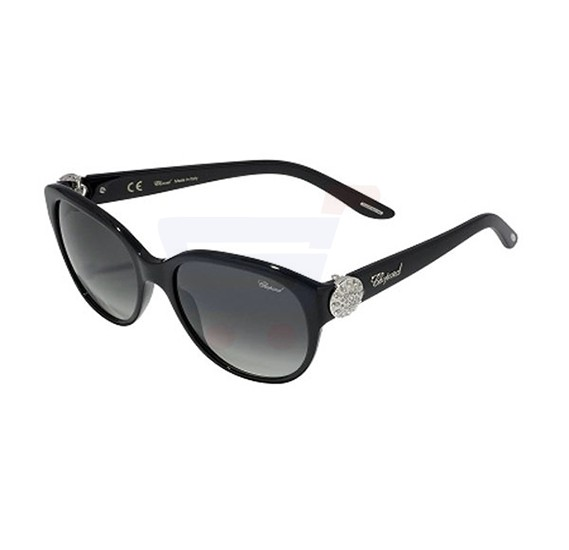 Chopard Oval Shiny Black Frame & Smoked Grey Gradient Mirrored Sunglasses For Women - SCH185S-0700