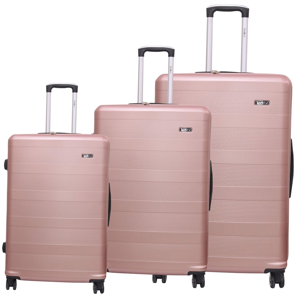 Traveller ABS 4 Wheel Premium Luggage Trolley 3pcs Set, Rose, TR-3300