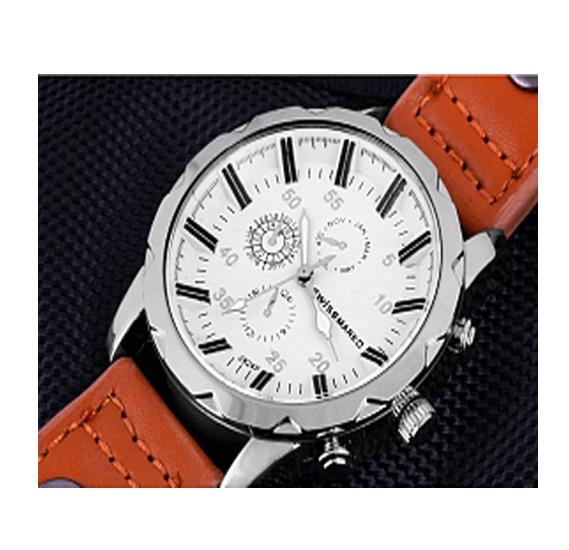 Swissmark Analog Trendy Sports Leather Watch For Men,Brown Cream,SMW-117