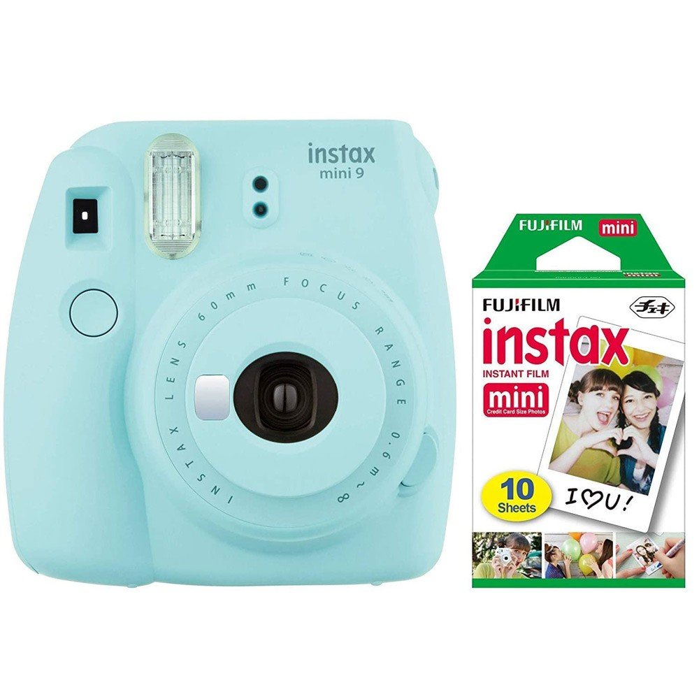 Fujifilm Instax Mini 9 Instant Camera, with 60mm f/12.7 Lens, with 10 Film Sheets Holiday Bundle, Ice Blue