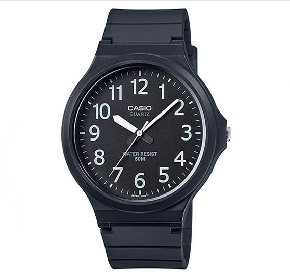 Casio Glass Face Resin Band Analog Watch For Unisex, MW-240-1BVDF
