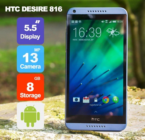 HTC Desire 816 4G Smartphone, Android 5.0, 1.5GB RAM, 8GB Storage, 5.5 Inch LCD2 Display, Dual Camera, Blue