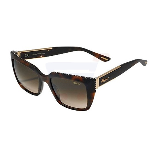 Chopard Wayfarer Shiny Dark Havana Frame & Brown Gradient Mirrored Sunglasses For Women - SCH190S-09XK