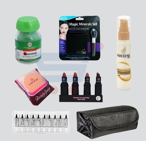 7 in 1offer!  Magic Nail Polish Remover Bo + Beauty Spongue Kokurya + Blue Heaven Special Kajal 10 Pcs Set For Women + Banoos 4 Pcs Sets Lipstick+ New Magic 3 In 1 Minerals Set Self Correcting Mineral Powder+Pantene 75Ml+Makeup kit Travel Bag