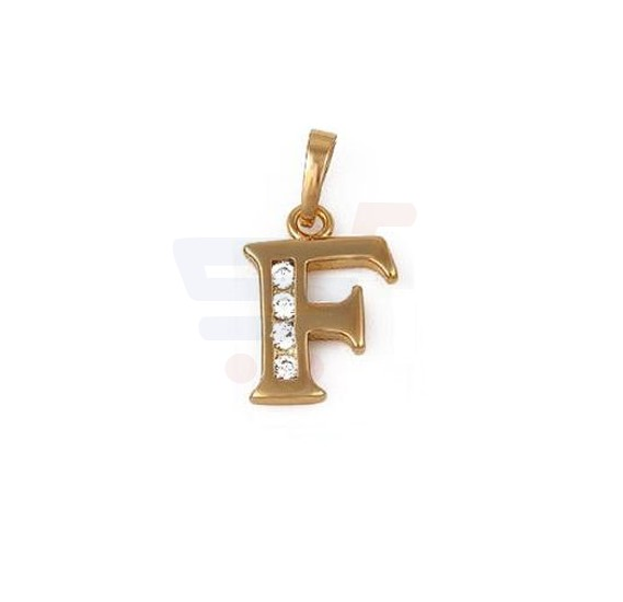Xuping Necklace Pendant Gold Plated Letter  F