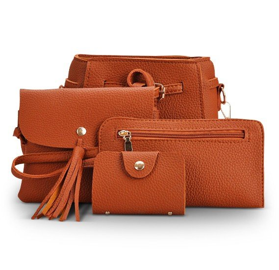 One or Two Sets of Four Tote Brown Handbags