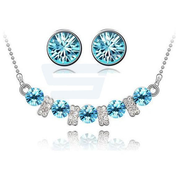 White Gold Plated Austrian Marquise Crystal Necklace Earring Set For Women