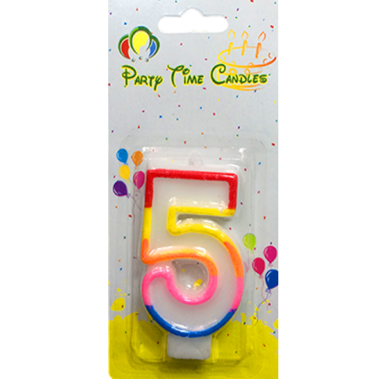 Party Time Number Candle Small 5 M028
