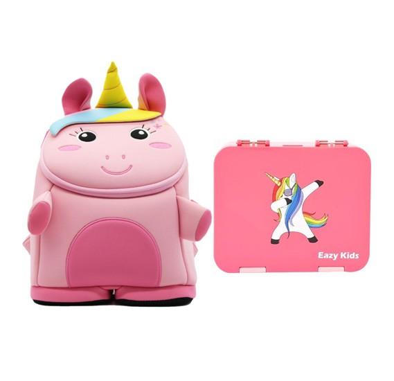 Nohoo Unicorn 3D  Bag + Bento Lunch Box-Pink CM_NHBN_001 Pink (23*13*38)