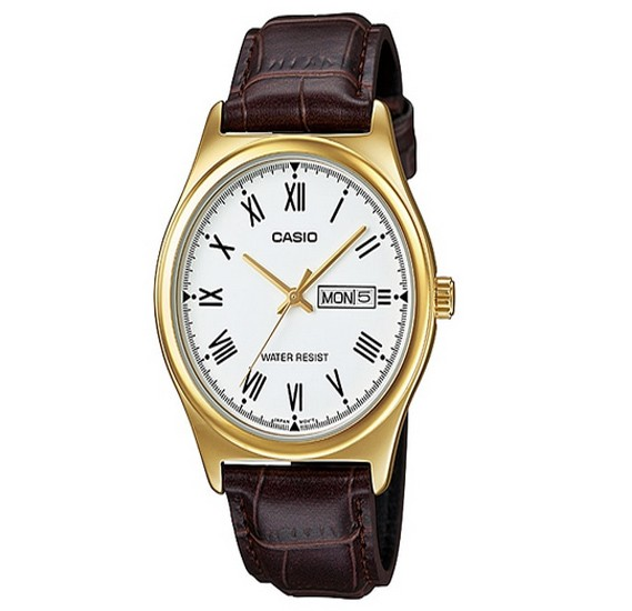 Casio Genuine leather Watch For Men, MTP-V006GL-7B