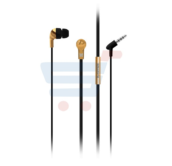 Promate Chrome Metallic Multi-function Stereo Earphone/ Headphones with Mic For Smartphone, Tablet and Laptop - Chrome.Gold