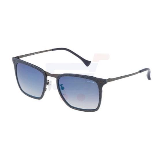 Police Wayfarer Blu Eff. Cloth Frame & Blue Gradient Mirrored Sunglasses For Men - SPL154N-AG2B
