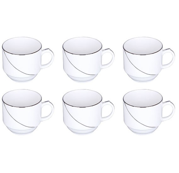 Royalford 6Pcs Cups(Silver Line)New Bone China1x12, RF7227