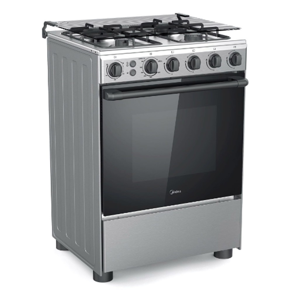 Midea BME62058FFD 4-Burner Gas Cooker with Grill, 60 cm, 7000W, Silver