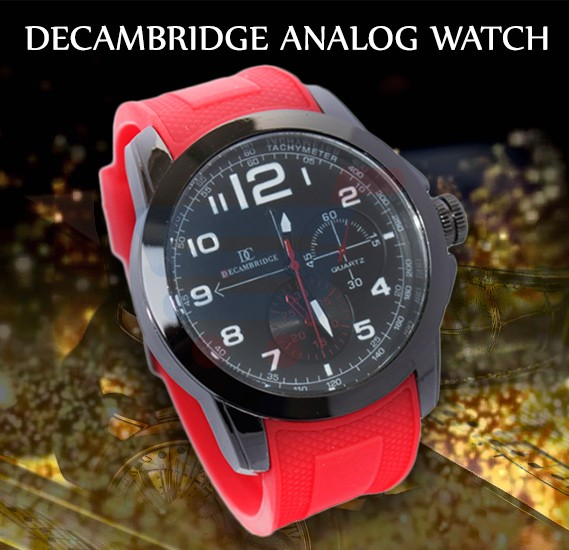Decambridge Analog Watch For Men Red Black - 7553B
