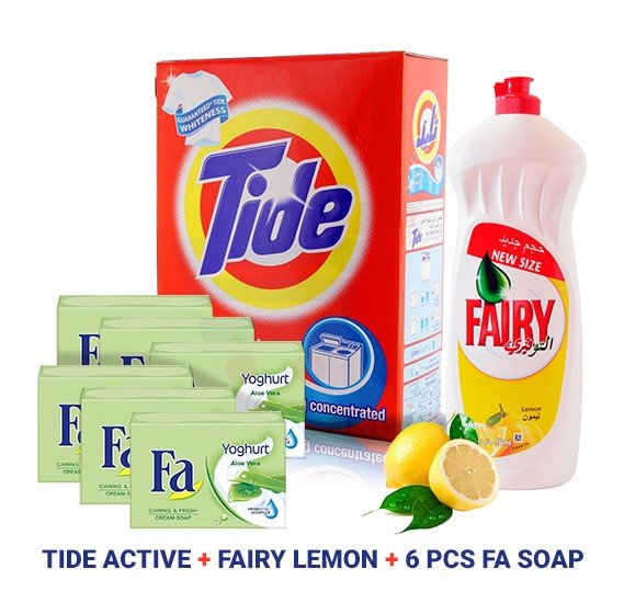 3 In 1 Bundle Offer Fairy Lemon Dishwashing Liquid 750ml + 6 Pieces Fa Soap Yoghurt Aloe Vera 175gm + Tide Active Auto Fabric Cleaning Powder 2.5kg