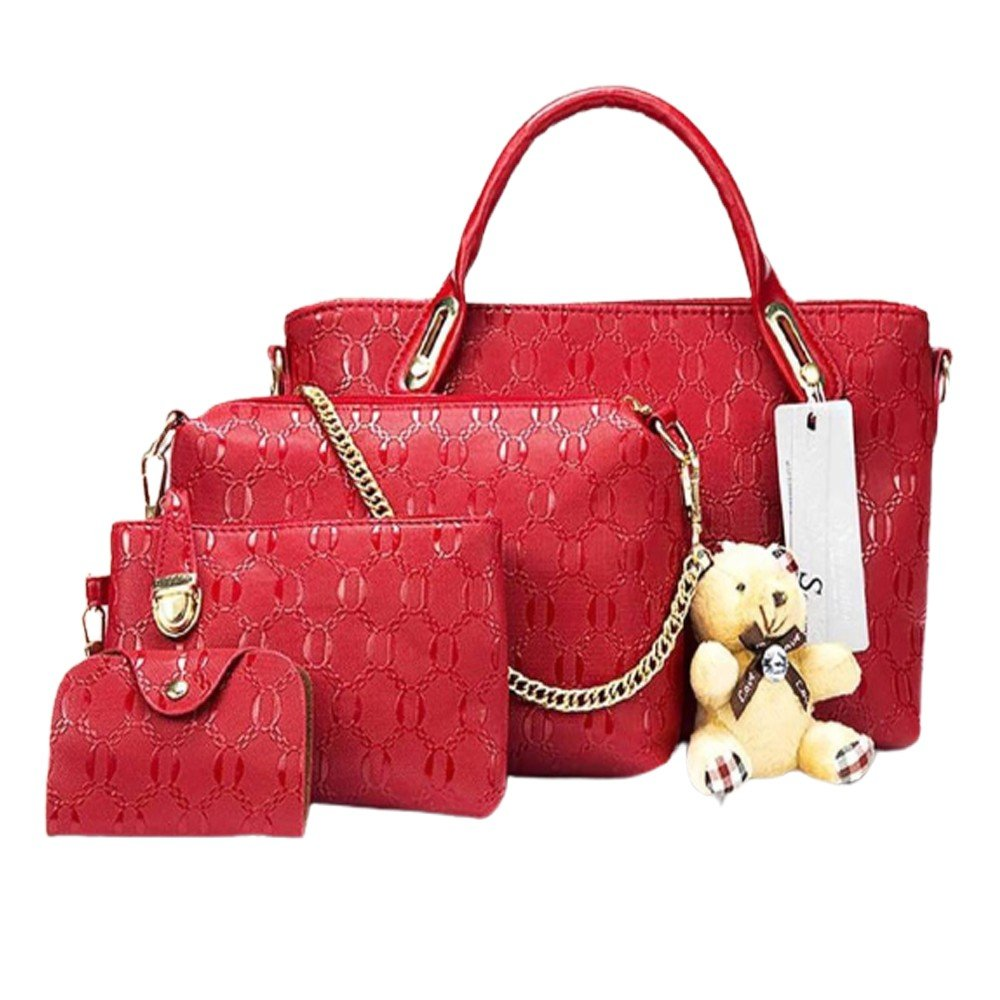 Womens 4 Pcs PU Composite hand bag set with Teddy Keychain Red