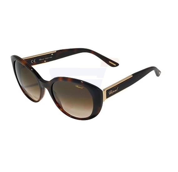 Chopard Oval Shiny Dark Havana Frame & Brown Gradient Mirrored Sunglasses For Women - SCH188S-09XK